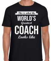 Worlds greatest coach kado shirt als bedankje een coach zwart heren