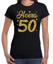 Zwart hoera 50 jaar verjaardag sarah t-shirt dames gouden glitter bedrukking