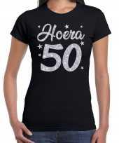 Zwart hoera 50 jaar verjaardag sarah t-shirt dames zilveren glitter bedrukking