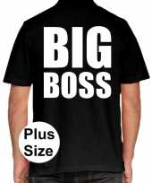 Zwart plus size big boss polo t-shirt heren