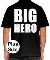 Zwart plus size big hero polo t-shirt heren