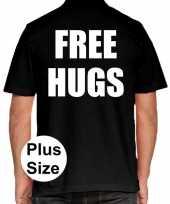 Zwart plus size free hugs polo t-shirt heren