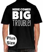 Zwart plus size here comes big trouble polo t-shirt heren