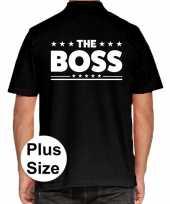Zwart plus size the boss polo t-shirt heren