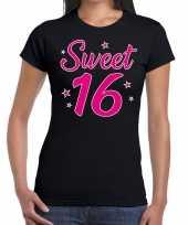 Zwart sweet 16 verjaardags kado t-shirt dames