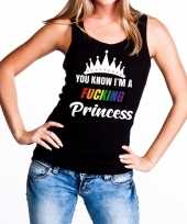 Zwart you know i am a fucking princess tanktop mouwloos shirt dames