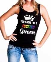 Zwart you know i am a fucking queen tanktop mouwloos shirt dames