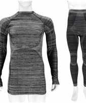 Zwarte melange thermo kleding set-shirt lange mouw broek ondergoed heren maat m