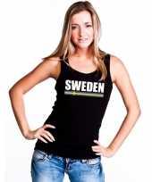 Zweden supporter mouwloos shirt tanktop zwart dames
