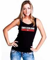 Zwitserland supporter mouwloos shirt tanktop zwart dames