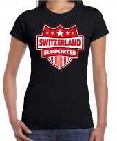 Zwitserland switzerland supporter t shirt zwart dames